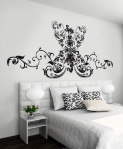 Dramatic baroque headboard wall sticker