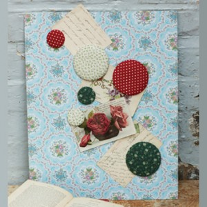 Vintage fabric magnetic noticeboard