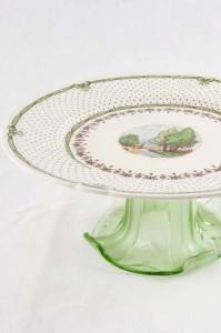 Green pedestal cake stand