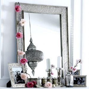 Embossed silver metal mirror