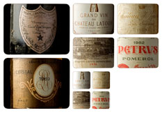 Vintage wine label placemats and coasters