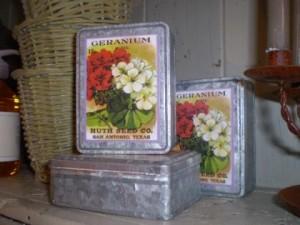 Vintage geranium seed tin
