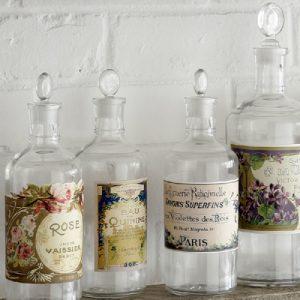 Vintage decorative French bottles and jars