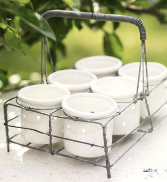Wire glass basket
