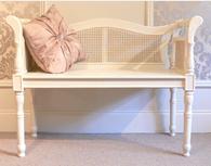 Cream rattan bench