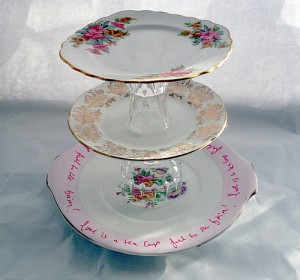 Love is a Teacup handcrafted cake stand