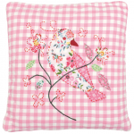 Green Gate pink bird quilted cushion