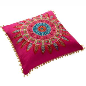 Pink embroidered cushion