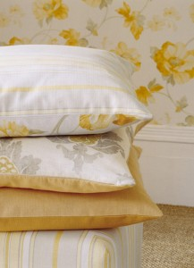 Yellow floral cushion covers