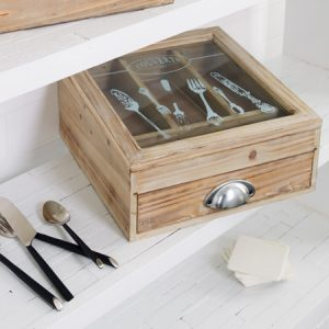 Wilbury wooden cutlery storage chest