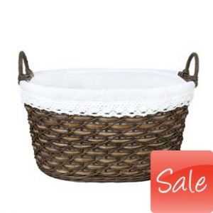 Hand woven washing basket with cotton lining