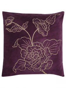Purple embroidered velvet cushion from M&Co