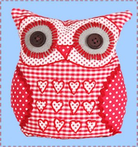 Red owl fabric door stop