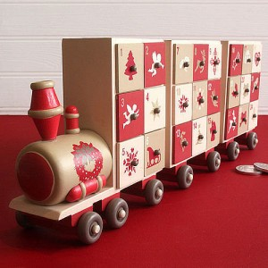 Wooden train design advent calendar for children