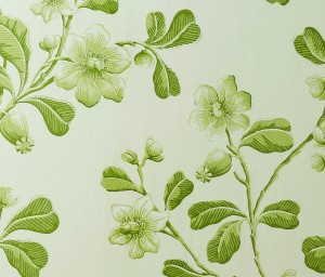 Little Greene green floral wallpaper