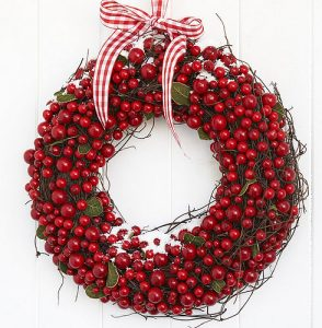 Shabby chic country home Christmas door wreath