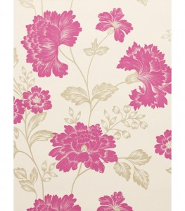 Pink floral shabby chic wallpaper idea