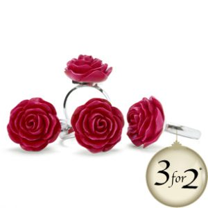 Rose design red napkin ring