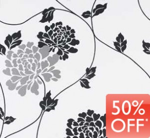 Black and white classic floral wallpaper