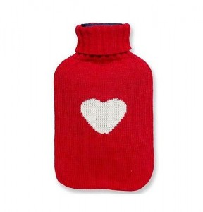 Heart design knitted hot water bottle