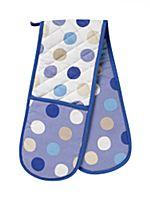 Blue polka dot spot oven gloves