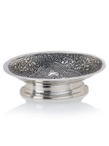Silver metal bathroom soap dish