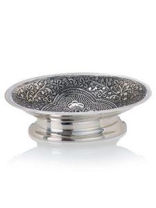 Silver metal bathroom soap dish