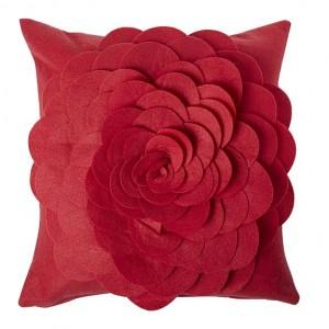 Designer red felt 3D flower cushion
