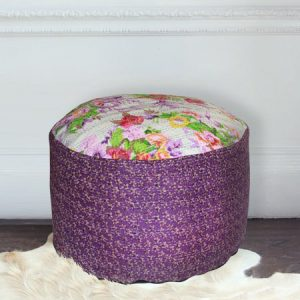 White and purple handstitched floral pouffe on sale
