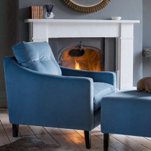 Luxurious designer blue velvet chair