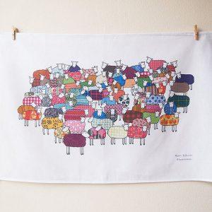 Mary Kilvert illustrated sheep tea towel