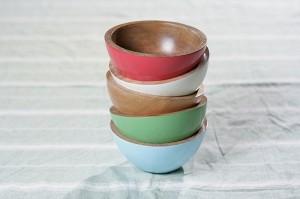 Bimbi mango wood painted bowls