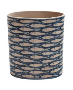 Blue fish design ceramic Vietnamese style vase