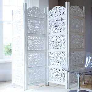 Decorative white wooden room screen