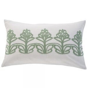 Green floral flower cushion in the sale at Feather and Black