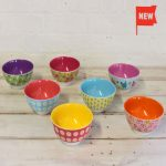 Colourful patterned melamine camping and picnic bowls and plates