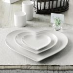 Exclusive Portobello heart shaped white plates