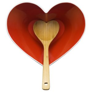 Sagaform red heart bowl and spoon