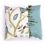 Modern Drapery handmade blue leaf cushion