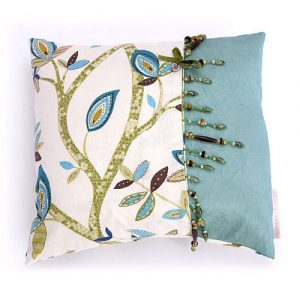 Modern Drapery handmade blue leaf cushion