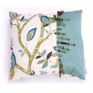 Handmade in Britain affordable blue leaf design cushion