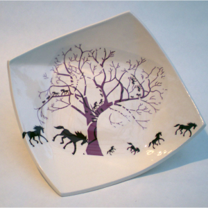 Handmade earthenware slip cast plate by Georgina Fowler