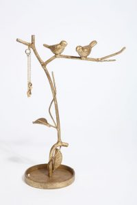 Gold bird branch jewellery stand