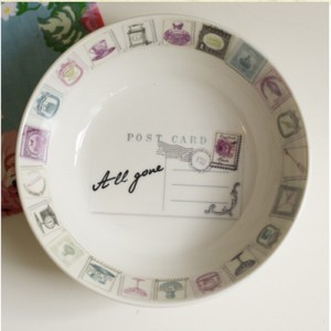 Vintage postcard design crockery bowl