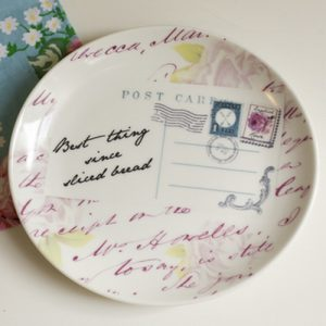Vintage postcard design ceramic plate and bowl