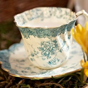 Vintage china teacup wax candle accessory