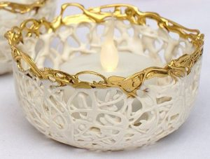 Cream and gold handmade tealight holder
