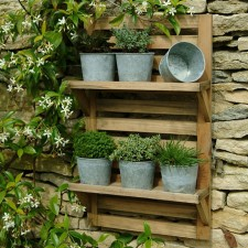 Wall mounted herb rack and pots