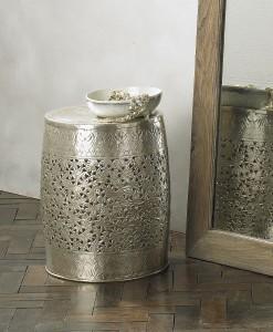 Oriental style brass silver fretwork stool