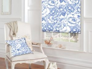 Blue and white window roller blind